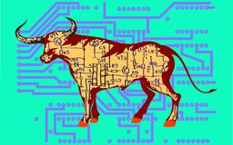 Cyborg bull vector illustration