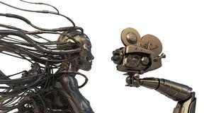 Cyborg with cables from head gives interview Stock Photo