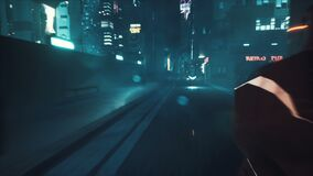 Cyborg chases a girl on a motorcycle through the night streets of a neon cyber city. Animation for fiction, cyber and