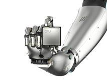 Cyborg che tiene il chip del CPU Immagine Stock Libera da Diritti