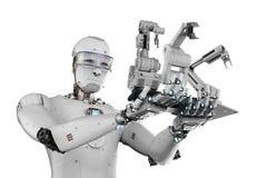 Cyborg che tiene tre armi del robot Immagini Stock Libere da Diritti