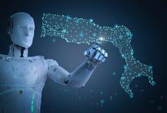 Cyborg con el brazo del robot ilustración del vector