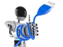 Cyborg con el cable de la red ilustración del vector