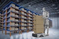Cyborg con el robot del almacén libre illustration