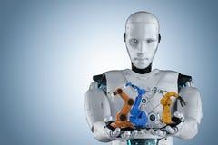 Cyborg con los brazos del robot ilustración del vector