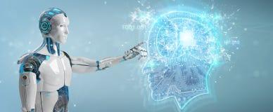 Cyborg créant le rendu de l'intelligence artificielle 3D