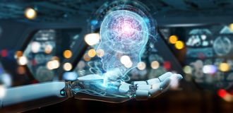 Cyborg creating artificial intelligence 3D rendering. Cyborg on blurred background creating artificial intelligence 3D rendering