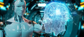 Cyborg creating artificial intelligence 3D rendering. Cyborg on blurred background creating artificial intelligence 3D rendering vector illustration