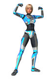Cyborg. 3D digital render of a female cyborg isolated on white background Royalty Free Stock Photos