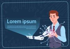 Cyborg d'homme d'affaires avec la main moderne de robot produisant la bannière de fond d'abrégé sur écran de Digital Photographie stock libre de droits