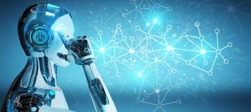 Cyborg d'homme blanc employant le rendu numérique de la connexion réseau 3D illustration de vecteur