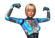 Cyborg da rendição 3D no branco Fotografia de Stock Royalty Free