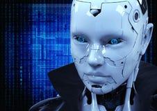 Cyborg das Mädchen in einem Regenmantel Lizenzfreie Stockfotos