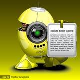 Cyborg de robot avec le panneau d'invitation Photos libres de droits