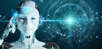 Cyborg della donna bianca che usando la rappresentazione dell'interfaccia 3D del pianeta Terra Fotografia Stock Libera da Diritti