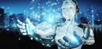 Cyborg della donna bianca che usando la rappresentazione digitale dell'interfaccia 3D del grafico Immagini Stock Libere da Diritti