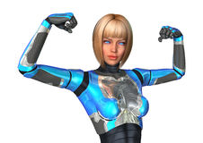 cyborg della rappresentazione 3D su bianco Fotografia Stock Libera da Diritti