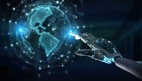 Cyborg do robô inteligente que usa a rendição digital da relação 3D do globo ilustração do vetor