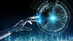 Cyborg do robô inteligente que usa a rendição digital da relação 3D do globo ilustração stock