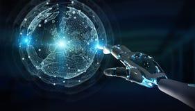 Cyborg do rob? inteligente que usa a rendi??o digital da rela??o 3D do globo ilustração do vetor