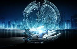 Cyborg do rob? inteligente que usa a rendi??o digital da rela??o 3D do globo ilustração stock