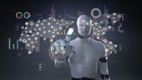 Cyborg do robô que toca em povos conectados, usando a tecnologia de comunicação com diagrama econômico, carta, gráfico Inteligênc
