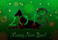 Cyborg dog green. New Year greeting card in green. Vector illustration of New Year mascot Dog. Cyborg dog green vector illustration