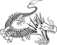 Cyborg Dragon Illustration. Tyrannosaurus Rex Illustration on white background Stock Images