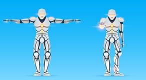 Cyborg is een mens met kunstmatige intelligentie, AI Het karakter van de Humanoidrobot toont gebaren Modieus androïde mannetje vector illustratie