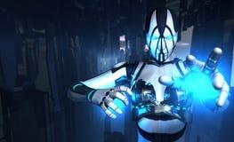 cyborg energia trzyma żołnierza ilustracja wektor