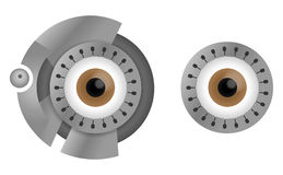 Cyborg eyes. Brown cyborg eyes in steel rim. Vector illustration Royalty Free Stock Images