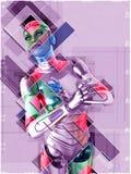 Cyborg féminin dans l'illustration du style 3d de collage Photos libres de droits