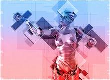 Cyborg féminin dans l'illustration du style 3d de collage Illustration Stock