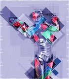 Cyborg féminin dans l'illustration du style 3d de collage Images stock