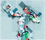 Cyborg féminin dans l'illustration du style 3d de collage Photo stock