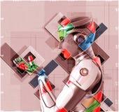 Cyborg féminin dans l'illustration du style 3d de collage Image stock