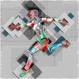Cyborg féminin dans l'illustration du style 3d de collage Photos stock