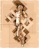 Cyborg féminin dans l'illustration du style 3d de collage Photo libre de droits
