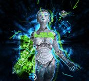 Cyborg féminin sur l'illustration du fond 3d de techno Photo libre de droits