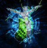 Cyborg féminin sur l'illustration du fond 3d de techno Photos libres de droits