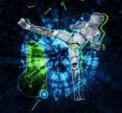 Cyborg féminin sur l'illustration du fond 3d de techno Photographie stock libre de droits