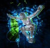 Cyborg féminin sur l'illustration du fond 3d de techno Photo stock