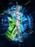 Cyborg féminin sur l'illustration du fond 3d de techno Photos stock