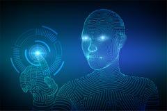 Cyborg f?minin de Wireframed touchant l'interface num?rique de graphique AI Concept d'intelligence artificielle Contact robotique