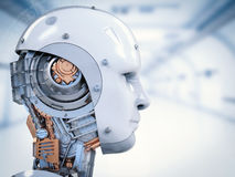 Cyborg face or robot face stock illustration
