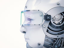 Cyborg face or robot face. 3d rendering cyborg face wearing eyeglasses with virtual display Royalty Free Stock Photography
