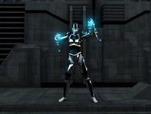 Cyborg female. Holding energy charges Stock Photo