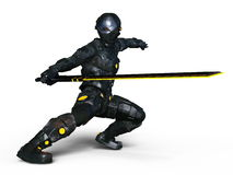 Cyborg fencer. 3D CG rendering of a cyborg fencer Stock Images
