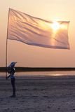 Cyborg with flag at sunrise Royalty Free Stock Photography
