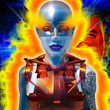 Cyborg. With the flames of energy Royalty Free Stock Image